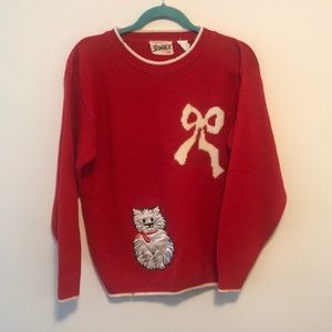 Vintage cat with bow red sweater